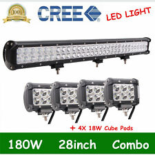 28inch 180W LED Light Bar Combo Beam+4X 4'' 18W SPOT Cube Pods For Off road Jeep