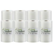 8 Rolls-(4) 6x50 & (4) 8x50 FoodVacBags for Foodsaver Vacuum Sealer Storage Bags