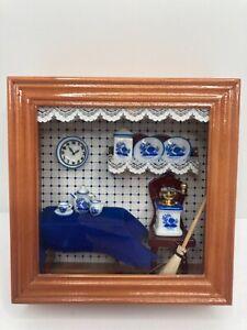 Reutter Original  German Shadow Box Diorama with Kitchen Miniatures -Tea Set