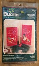 Bucilla Seasons Greetings Santa Snowman Christmas Longstitch Guest Towels Kit