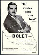 1948 Jorge Bolet photo piano recital tour booking trade print ad