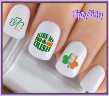 Nail Art #7507 St Patricks Kiss IrIsh Flag Clover Waterslide Nail Decal Transfer
