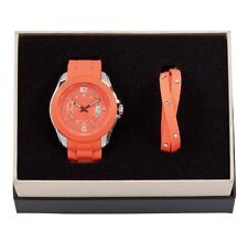 DSE 5122583 Orange Watch with Bracelet Silicone Set Swarovski Crystal Authentic