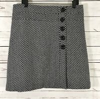 Vintage Talbot Women's A-Line Skirt Black /White Polka Dots 100% Wool Size 12