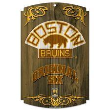 "BOSTON BRUINS ORIGINAL SIX VINTAGE HOCKEY WOOD SIGN 11""X17'' BRAND NEW WINCRAFT"