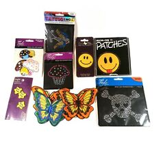 Mixed Lot of Iron on Patches Rhinestones Appliques Butterfly Bird Skull Cupcake