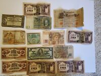 Vintage Currency WWI/WWII Japan Germany Canada Swiss 14 Total, Banknotes Money