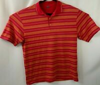 Men's Nike Golf Dri Fit Pink Striped Short Sleeve Polo Shirt Size Large L