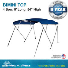 "New Pontoon  Bimini Top Boat Cover 4 Bow 54"" H 85"" - 90"" W 8 ft. Long Navy Blue"