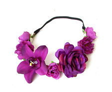 Purple Rose Orchid Flower Garland Headband Hair Crown Festival Headpiece 2386
