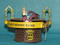 Antique Cast Iron Mechanical Horse Racing Bank