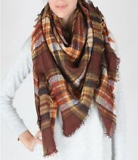 Brown and Multi Colored Oversized Plaid FASHION BLANKET Scarf