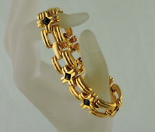 YELLOW GOLD PLATED CROSS CHAIN BLACK GLASS LINK BRACELET SIGNED ART DECO STYLE