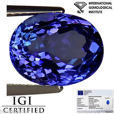 4.30 Ct IGI Certified AAA Natural D Block Tanzanite Blue Violet Color Oval Cut