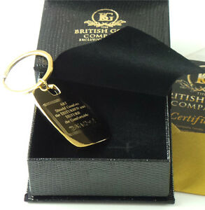 BANKSY Signed 24k Gold Clad Quote Keyring in Luxury Gift Case Keychain in Box
