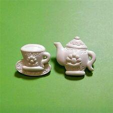 7 set Teapot Tea Cup pot Set Cardmaking Sewing Buttons Scrapbooking White K299