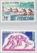 IVORY COAST ELFENBEINKÜSTE 1968 331-32 270-71 Olympics Mexico Canoe Runners MNH