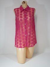 Simply Irresistible womens shirt Pink Shear Sleeveless Button Down Medium
