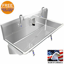 "HAND SINK 40"" 2 USERS MULTISTATION KNEE VALVE STAINLESS STEEL BASIN MADE IN USA"