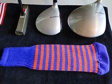 Knitted zebra style Fairway & Driver Golf Club head cover Purple / Orange