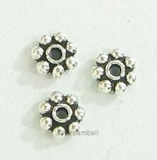 20x Antique BALI Sterling Silver Round DAISY SPACER Beads 4mm