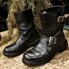 Mens Xelement Black Leather Biker Motorcycle Harness Buckle Boots Size 10.5