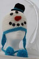 Unique Crochet Hat Snowman Hand Made
