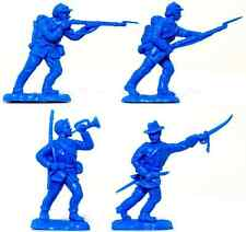 8 Britains Herald Civil War Union Infantry Recasts - Unpainted 51mm Toy Soldiers
