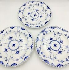 "Set 3 Royal Copenhagen Blue Fluted Full Lace 10"" Dinner Plates 1084 *1st Quality"