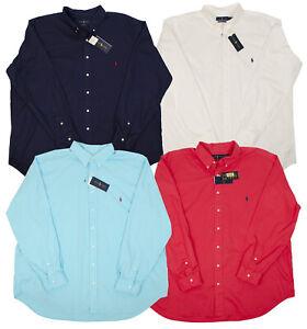 POLO RALPH LAUREN BIG TALL MEN'S FEATHER WEIGHT DRESS SHIRTS NAVY WHITE BLUE RED