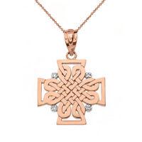 Solid 14k Rose Gold 4 Diamond Celtic Woven Cross Pendant Necklace