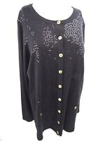 Joan Rivers Women's Size Medium Blouse Black Sequins Gold Colored Buttons