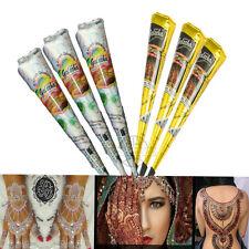 6x Henna Tattoo Paste Golecha Farbe 3 Schwarz 3 Weiß Kegel klinisch getestet