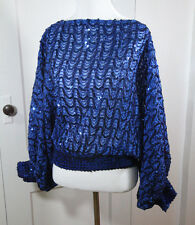Vintage Blue Sequin Top Batwing Sleeves Cropped Disco Glam XS/S 70s 80s Holiday