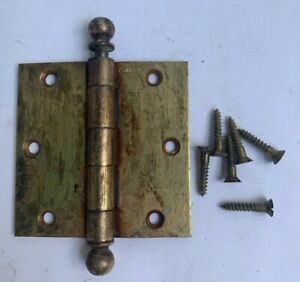 Vintage Stanley 3 1/2 x 3 1/2 in Door Hinges Brass Heavy Ball Tips