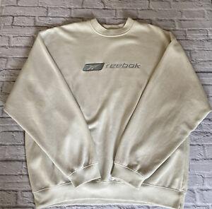 Reebok Vintage Sweatshirt Jumper 1990's Spell Out Cream Size Large