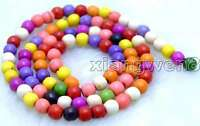"SALE Natural Small 4mm Round Multicolor TURQUOISE beads strand 15""-los518"