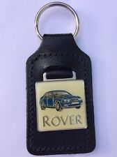 ROVER 75 METAL FOBBED LEATHER BACKED KEYRING IN BLUE, CLASSIC MG ROVER CAR