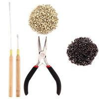 Silicone Beads Hair Extensions Pliers Hook Tool KiT Micro Rings Loop 500pcs DL5