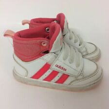 Adidas Baby Girls White Pink High Top Trainers UK 5K Hook Loop Fastening Laces