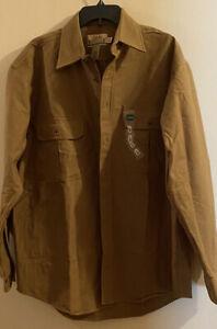 Cabelas DeerSkin Mens Large Tall Soft Chamois Heavyweight Flannel Shirt Pockets