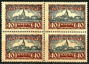 ESTONIA, SCOTT B15-B19, MINT NO GUM, YEAR 1927, COMPLETE SET IN BLOCKS OF FOUR