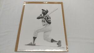 1990 Alan Landsman Hank Aaron 11X14 Atlanta Braves Art Sketch