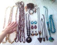Large lot of wooden jewelry. wood necklaces, pendants, bracelets, earrings. fish