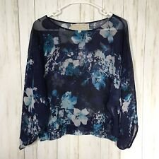Cynthia Vincent PM Blue Floral Sheer Silk Long Sleeve Top Blouse Gathered Cuff