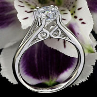 SOLITAIRE .54 CT ROUND CUT DIAMOND ENGAGEMENT RING 14K WHITE GOLD