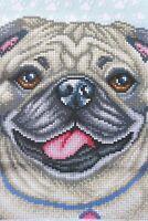 Hund Mops Stickpackung Stickbild  Bild sticken mit Perlen 548