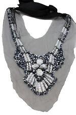 Women Fashion Bohemian Jewelry Black Lace Satin Strand Long Necklace Zebra Beads