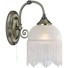 SEARCHLIGHT VICTORIANA WALL LIGHT ANTIQUE BRASS FINISH ETCHED GLASS 3151-1AC