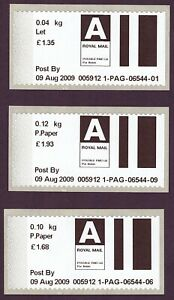 2009 early Post & Go type stamps. Airmail letter & 2 x printed paper rates.